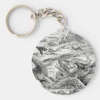 Vintage 1800s Dinosaur Illustration - Dinosaurs Basic Round Button Keychain