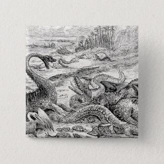 Vintage 1800s Dinosaur Illustration - Dinosaurs Button
