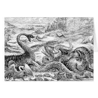 Vintage 1800s Dinosaur Illustration - Dinosaurs Stationery Note Card