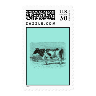 Vintage 1800s Dutch Cow Retro Cows Aqua Blue Postage