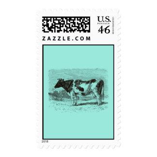 Vintage 1800s Dutch Cow Retro Cows Aqua Blue Stamps