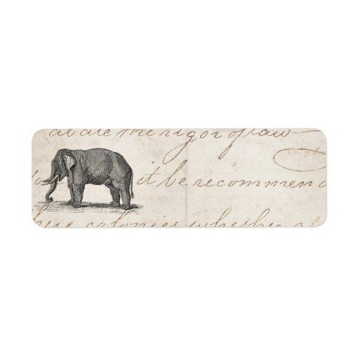Vintage 1800s Elephant Illustration - Elephants Label | Zazzle Vintage Elephant Illustration