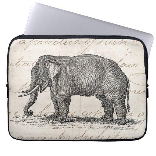 Vintage 1800s Elephant Illustration - Elephants Laptop Computer Sleeve