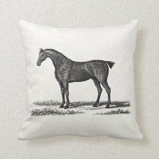 Vintage 1800s English Hunter Horse Hunting Horses Throw Pillow