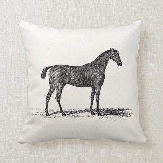 Vintage 1800s English Race Horse - Racing Horses Throw Pillow