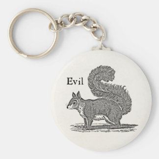 Vintage 1800s Evil Squirrel Illustration Basic Round Button Keychain