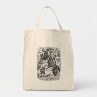 Vintage 1800s Flying Fox Bat Retro Template Bats Tote Bag