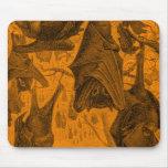 Vintage 1800s Flying Fox Bat Retro Template Orange Mouse Pads