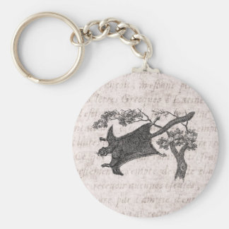 Vintage 1800s Flying Squirrel - Sugar Glider Keychain