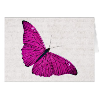 Vintage 1800s Fuchsia Hot Pink Butterfly Template Greeting Card