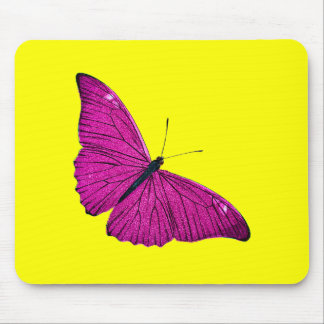Vintage 1800s Fuchsia Hot Pink Yellow Butterfly Mouse Pad