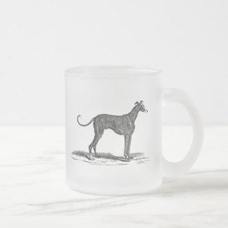 Vintage 1800s Greyhound Dog Illustration - Dogs Frosted Glass Coffee Mug