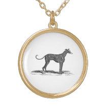 Vintage 1800s Greyhound Dog Illustration - Dogs Gold Finish Necklace