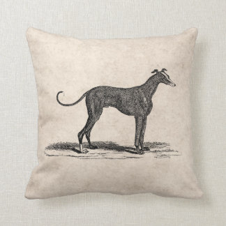 Vintage 1800s Greyhound Dog Illustration - Dogs Throw Pillow