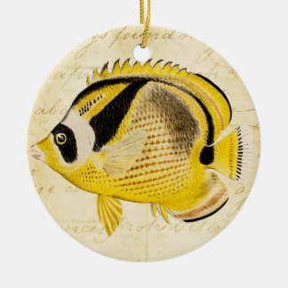 Vintage 1800s Hawaiian Butterfly Fish Illustration Double-Sided Ceramic Round Christmas Ornament