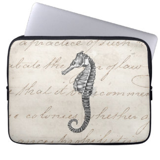 Vintage 1800s Hawaiian Sea Horse Illustration Laptop Sleeve