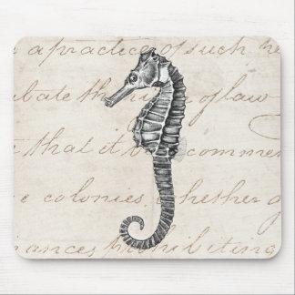 Vintage 1800s Hawaiian Sea Horse Illustration Mouse Pad