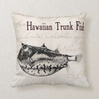 Vintage 1800s Hawaiian Trunk Fish Illustration Throw Pillow