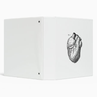 Vintage 1800s Heart Retro Cardiac Anatomy Hearts 3 Ring Binder