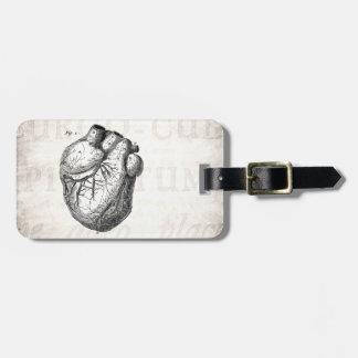 Vintage 1800s Heart Retro Cardiac Anatomy Hearts Bag Tag
