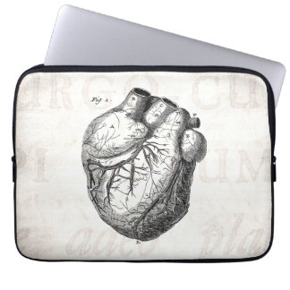 Vintage 1800s Heart Retro Cardiac Anatomy Hearts Computer Sleeve