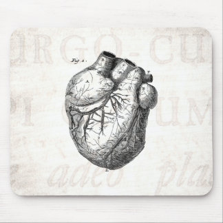 Vintage 1800s Heart Retro Cardiac Anatomy Hearts Mouse Pad