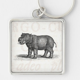 Vintage 1800s Hippopotamus Illustration - Hippos Silver-Colored Square Keychain