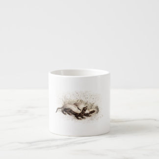 Vintage 1800s Honey Badger Bee Hive Template Retro Espresso Cup