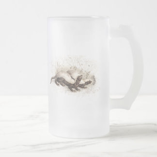 Vintage 1800s Honey Badger Bee Hive Template Retro Frosted Glass Beer Mug
