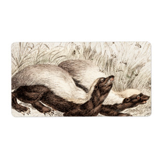 Vintage 1800s Honey Badger Bee Hive Template Retro Shipping Label