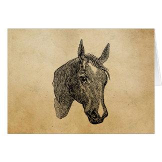 Vintage 1800s Horse Head Illustration Retro Horses Card