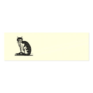 Vintage 1800s House Cat Illustration - Cats Double-Sided Mini Business Cards (Pack Of 20)