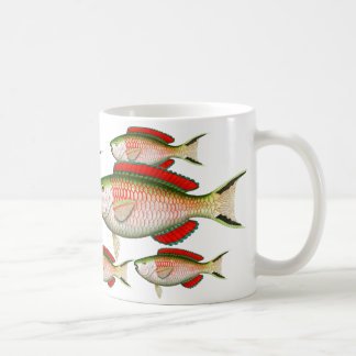 Vintage 1800's Images on Red and Green Fish Mug