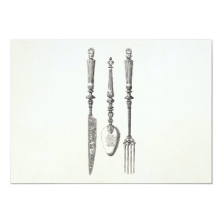Vintage 1800s Knife Fork Spoon Knives Old Cutlery 5x7 Paper Invitation Card
