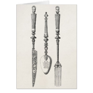 Vintage 1800s Knife Fork Spoon Knives Old Cutlery Stationery Note Card