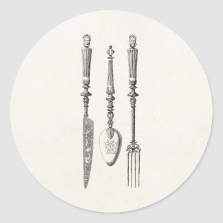 Vintage 1800s Knife Fork Spoon Knives Old Cutlery Classic Round Sticker