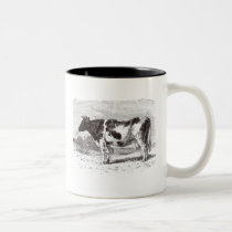 Vintage 1800s Large Dutch Cow Retro Cows Template Two-Tone Coffee Mug