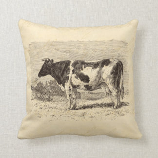 Vintage 1800s Large Dutch Cow Retro Cows Yellow Throw Pillow