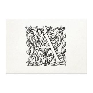 Vintage 1800s Letter A Monogram - Monogrammed 'A' Canvas Prints