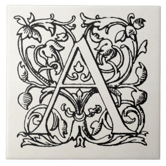 Vintage 1800s Letter A Monogram - Monogrammed 'A' Ceramic Tile