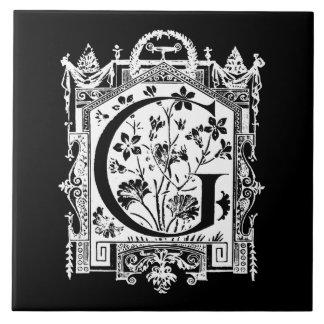 Vintage 1800s Letter G Monogram Illustration Tile