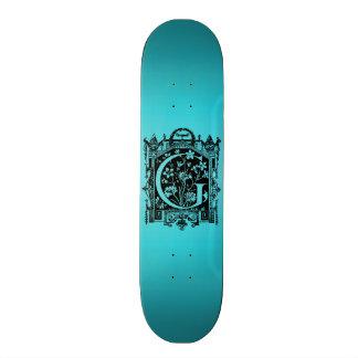 Vintage 1800s Letter G Monogram Teal Blue Skateboard Deck