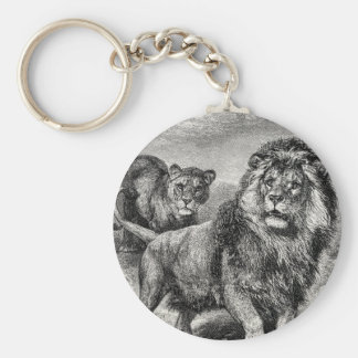 Vintage 1800s Lion Lionesse Big Cat Illustration Basic Round Button Keychain