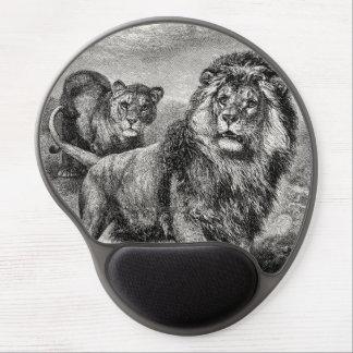 Vintage 1800s Lion Lionesse Big Cat Illustration Gel Mouse Pad