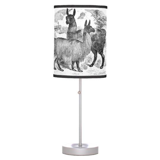 Vintage 1800s Llama Retro Alpaca Llamas Template Desk Lamp Zazzle Com