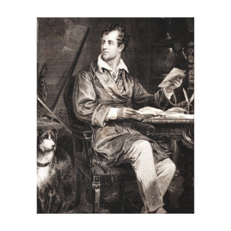 Vintage 1800s Lord Byron Portrait Victorian Poet Gallery Wrapped Canvas