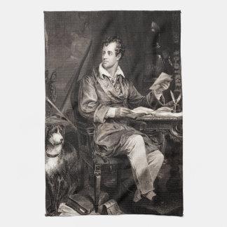 Vintage 1800s Lord Byron Portrait Victorian Poet Hand Towel