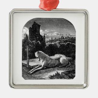Vintage 1800s Loyal Greyhound Dog Metal Ornament