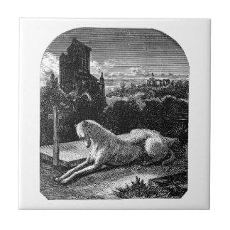 Vintage 1800s Loyal Greyhound Dog Tiles