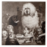 Vintage 1800s Magistrate Poodle w Dogs Template Ceramic Tiles